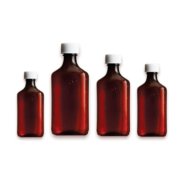 Premium Plastic Liquid Oval Bottles - Amber - Graduated Oval RX Bottles