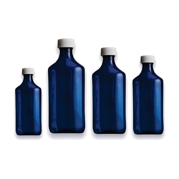 Premium Plastic Liquid Oval Bottles - Blue - Graduated Oval RX Bottles