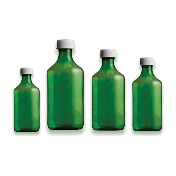 Premium Plastic Liquid Oval Bottles - Green - Graduated Oval RX Bottles