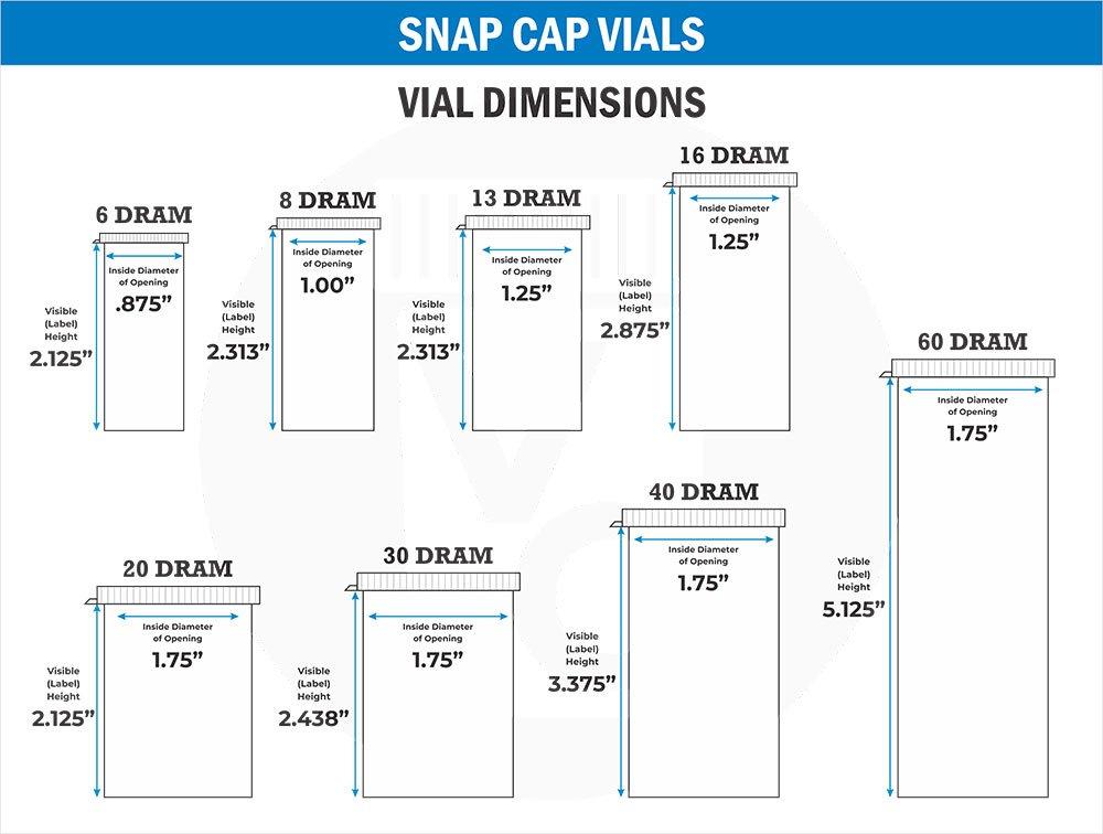 Snap Cap Pill Bottles Size Chart