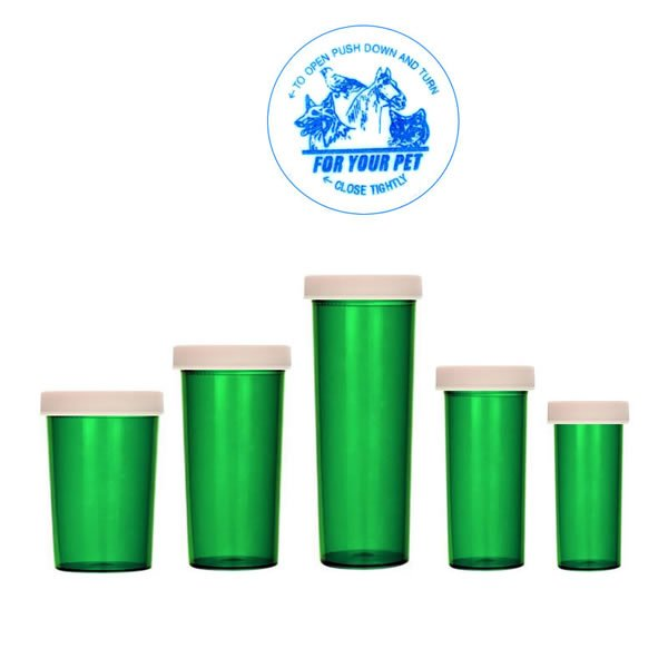Green Veterinary Imprint Child-Resistant Pill Bottles with Push-N-Turn Caps